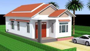 bản vẽ nhà cấp 4 mái thái với mái ngói hoặc mái tôn đỏ