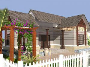 Bản thiết kế nhà vườn cấp 4 hiện đại 3 phòng ngủ, 1 phòng thờ