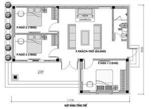 Mặt bằng nhà cấp 4 diện tích 100m2, 3 phòng ngủ