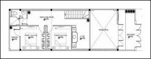 bản vẽ mẫu nhà gác lửng 4x16 m tầng trêt
