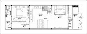 bản vẽ mẫu nhà gác lửng 4x16 m tầng 1