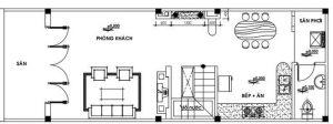 bản vẽ thiết kế mẫu nhà gác lửng 4x12 m