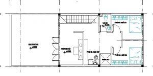 bản thiết kế tầng lửng nhà gác cấp 4 gác lửng 3 phòng ngủ