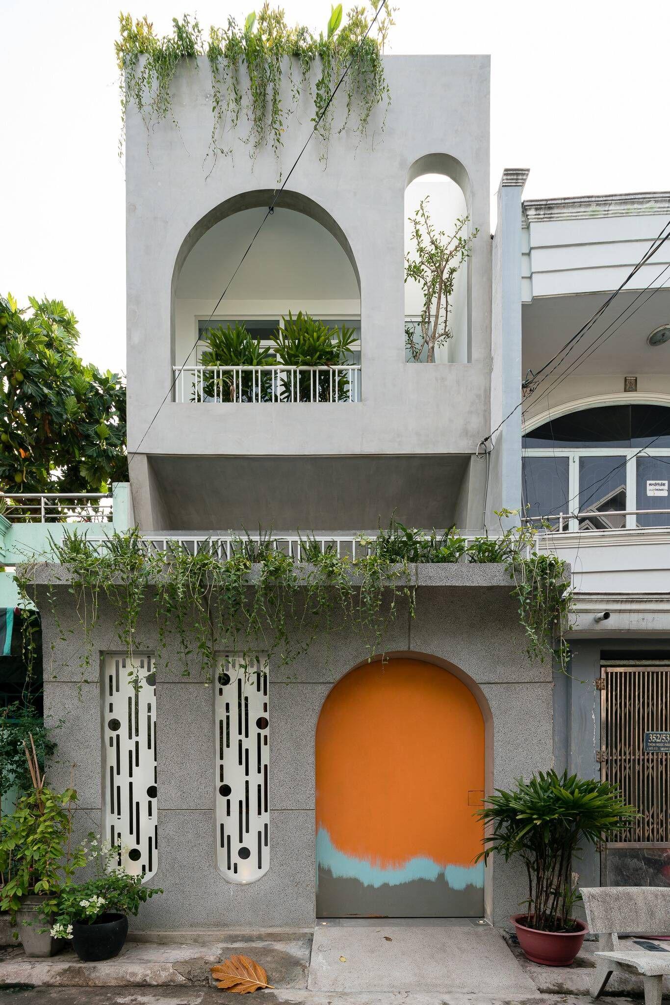 Mẫu nhà phố đẹp 2 tầng hiện đại thiết kế vòm tròn