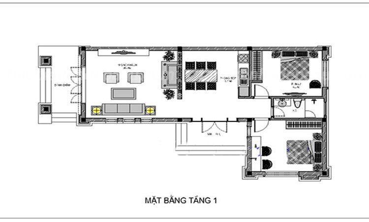 Công năng mẫu nhà cấp 4 chữ L 2 phòng ngủ - Mẫu 3