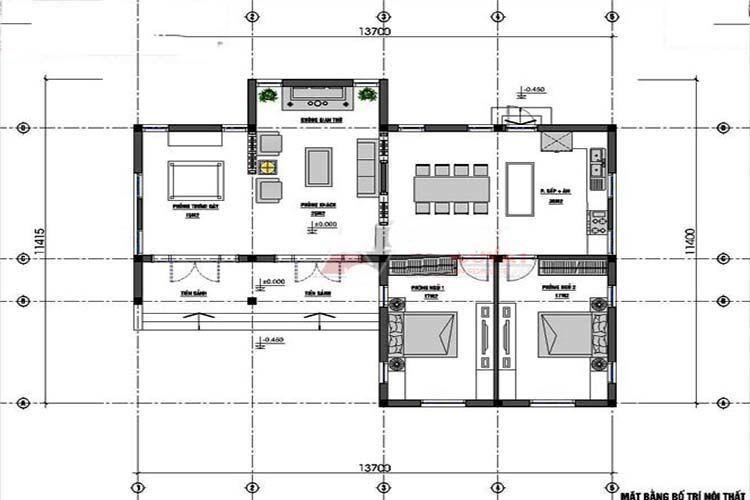 Công năng mẫu nhà cấp 4 chữ L 2 phòng ngủ - Mẫu 2
