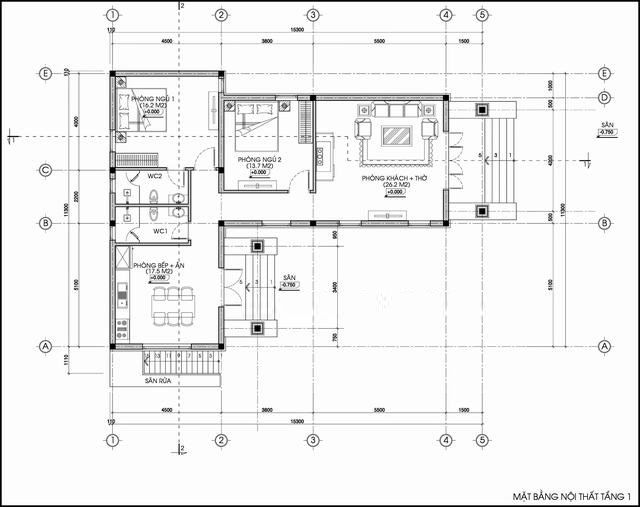 Công năng mẫu nhà cấp 4 chữ L 2 phòng ngủ - Mẫu 1