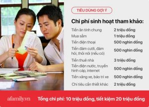 chi phí sinh hoạt 1 tháng của vợ chồng
