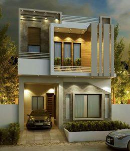 Mẫu nhà 2 tầng mặt tiền 8m hiện đại đa công năng