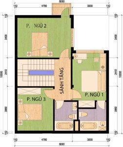 Bản vẽ mặt bằng mẫu nhà 2 tầng mặt tiền 8m hiện đại đa công năng