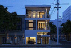 Mẫu nhà 2 tầng mặt tiền 8m hiện đại 1 tum