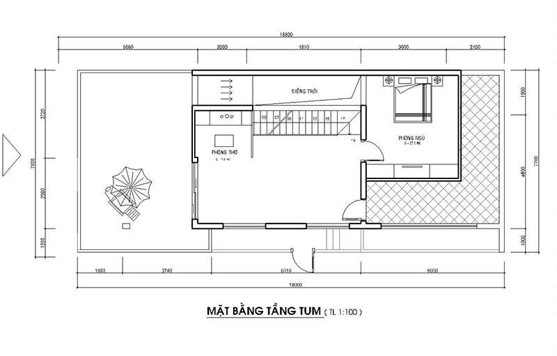 Bản vẽ mặt bằng mẫu nhà 2 tầng mặt tiền 8m hiện đại + 1 tum