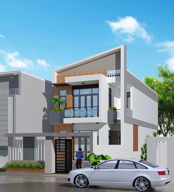 Mẫu nhà 2 tầng mặt tiền 8m hiện đại với mái chéo lạ mắt