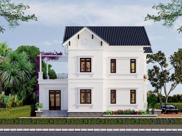 Mẫu nhà 2 tầng mặt tiền 8m 4 phòng ngủ phong cách đơn giản