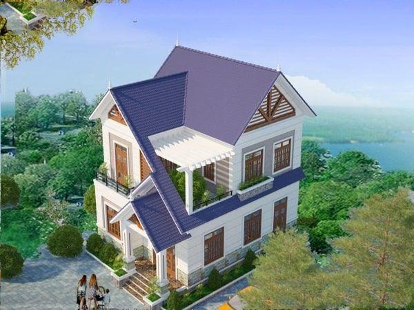 Mẫu nhà 2 tầng mặt tiền 8m 4 phòng ngủ giá rẻ