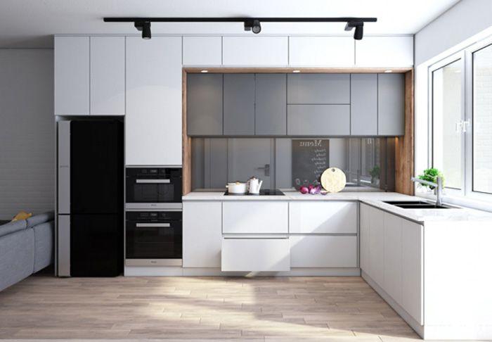 Mẫu tủ bếp Melamine cho chung cư 50m2