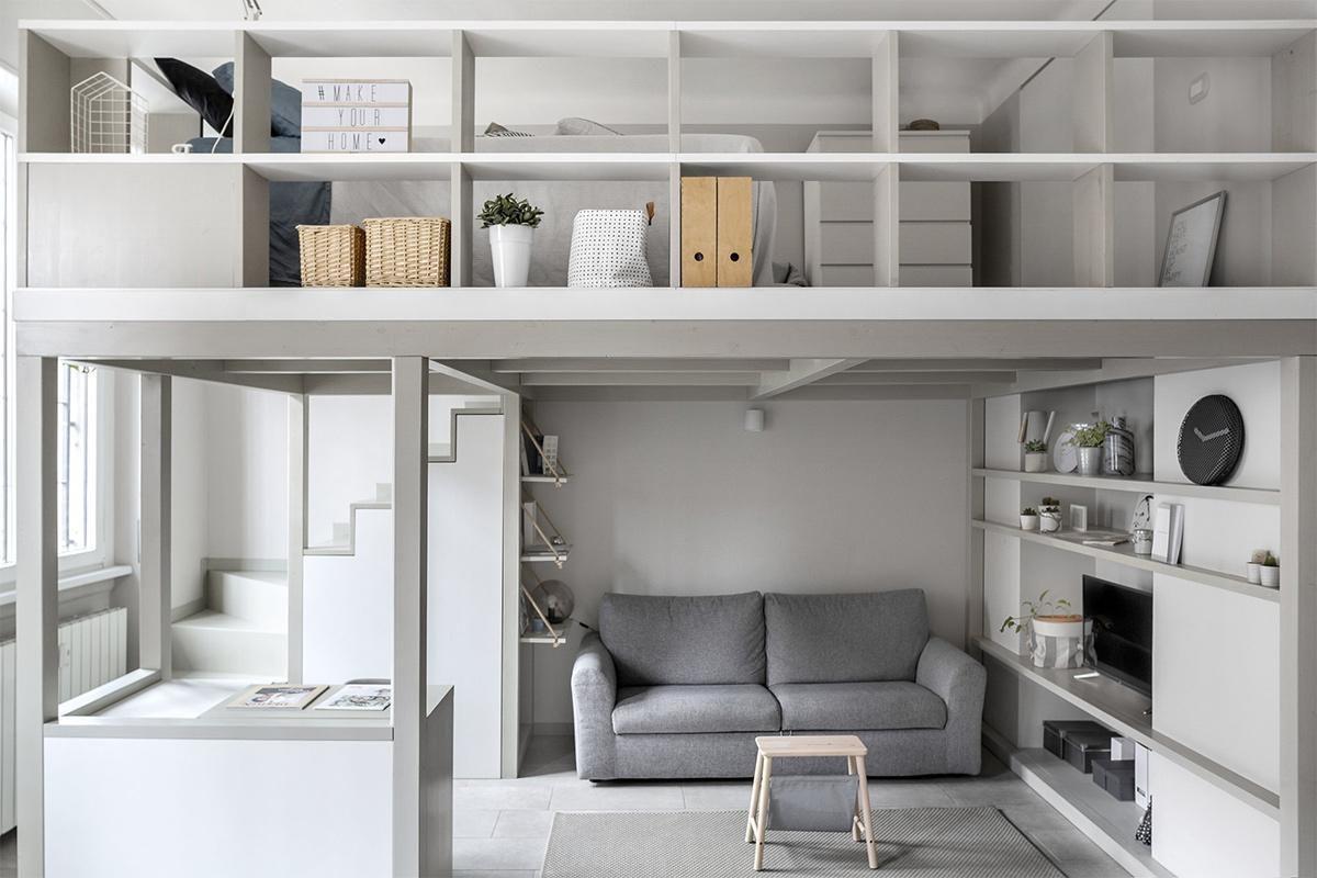 Căn gác xép đẹp phong cách Bắc Âu tinh tế với màu trắng, xám nhẹ nhàng kết hợp nội thất sang trọng.