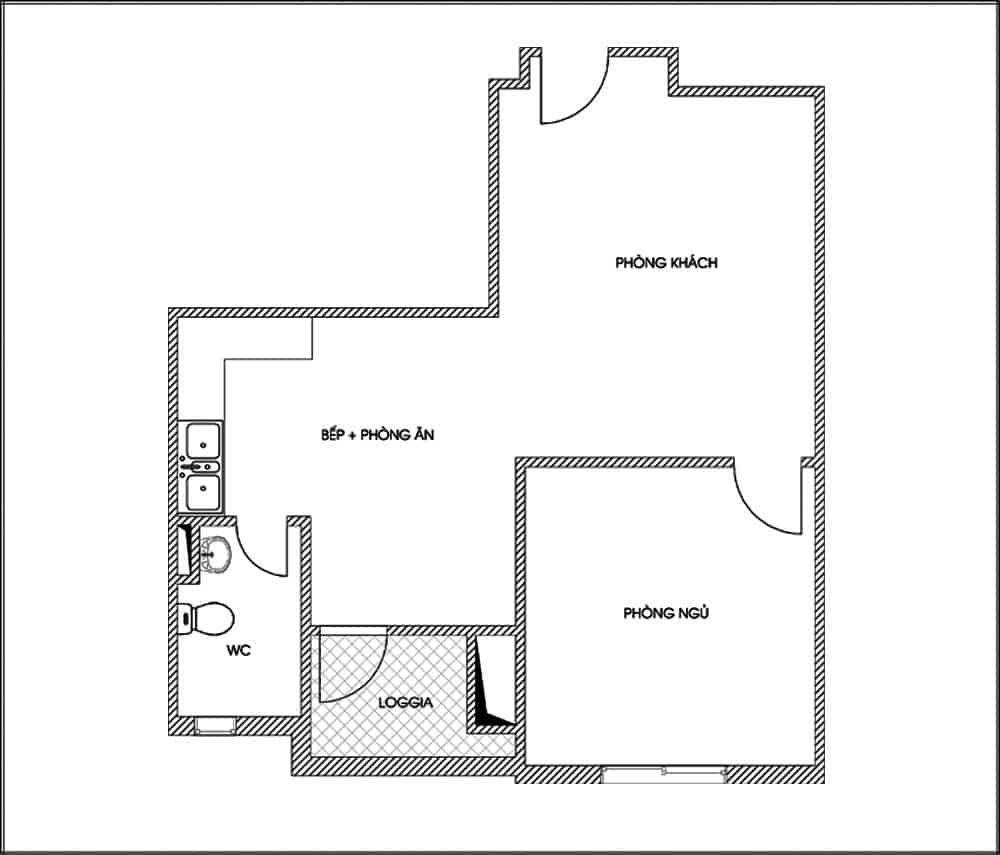 Mặt bằng bố trí tủ bếp chung cư đẹp 50m2
