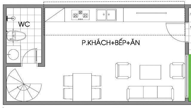 Mặt bằng bố trí tủ bếp chung cư đẹp 45m2