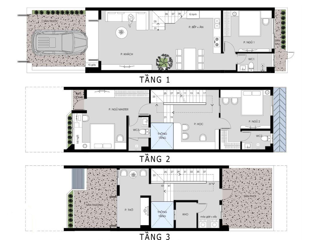 Mặt bằng công năng mẫu nhà phố 2 tầng 1 tum 5x20m