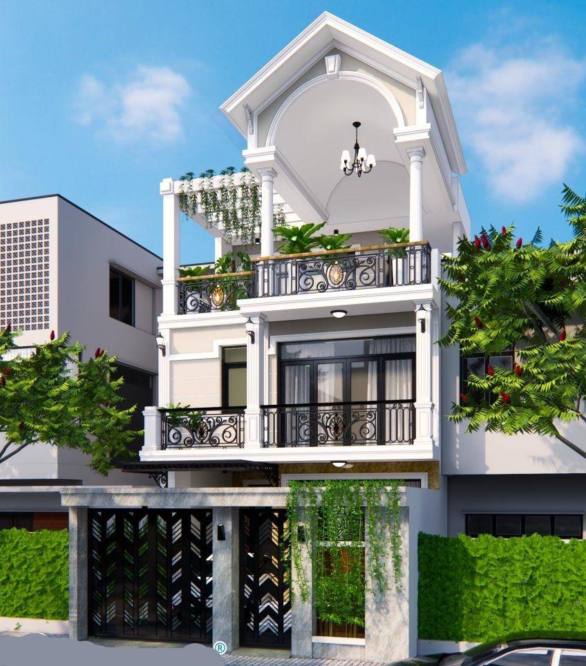 Mẫu nhà tân cổ điển 2 tầng sân thượng mái thái 7x23m