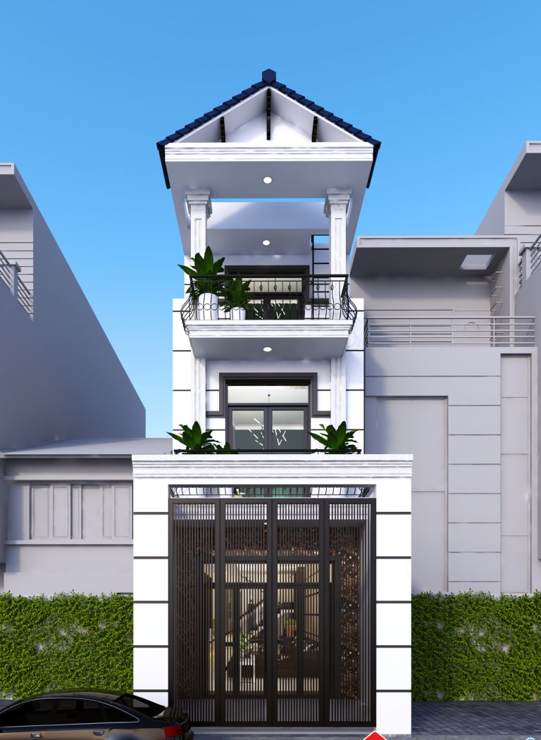 Mẫu nhà tân cổ điển 2 tầng 1 tum mái thái