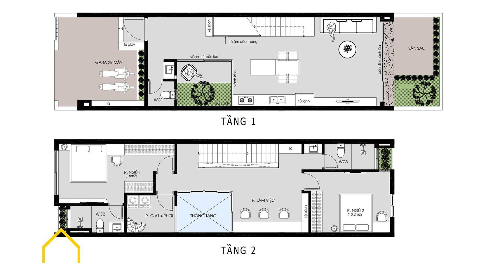 Mặt bằng công năng mẫu nhà phố 2 tầng tối giản