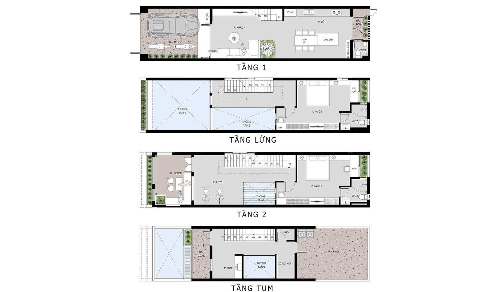 Mặt bằng công năng mẫu nhà phố 2 tầng 1 lửng 1 tum